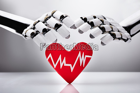 robot protecting heart with pulse rate