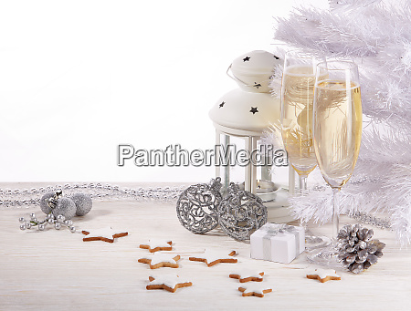 champagne and christmas decor new year