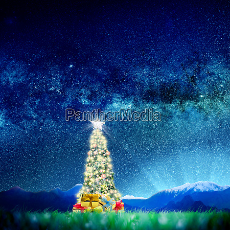 conceptual image of decorated christmas tree