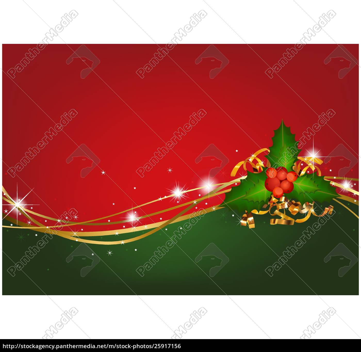 Royalty Free Vector 25917156 Christmas Background With Christmas Holly