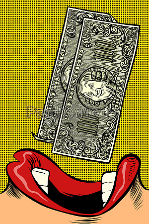 woman eats money pop art style