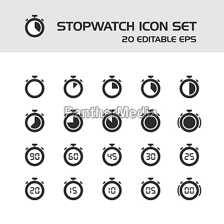 stopwatch icons set on a white