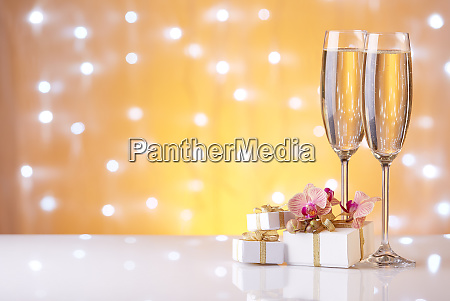 champagne on a yellow background