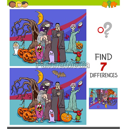 differences game with halloween characters