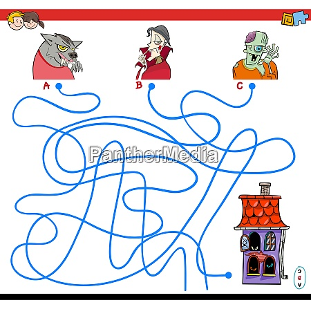 lines maze game with halloween characters