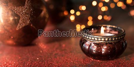 candlelight and christmas balls