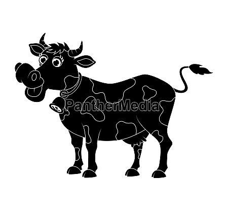 cartoon cute cow silhouette design
