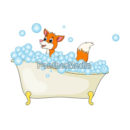 cartoon fox in bathtub witth bubbles