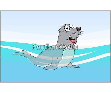 cartoon seal animal in sea water