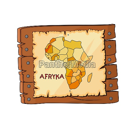 africa map on wooden sign plate