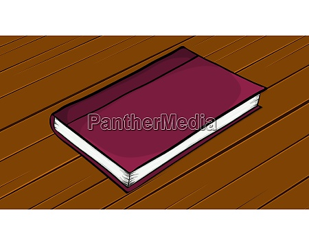 cartoon closed book lying on wooden
