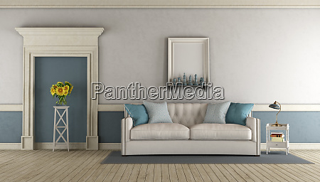 white and blue classic living room