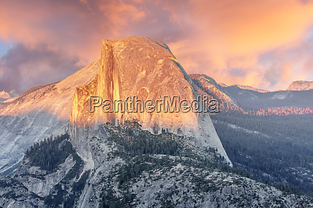 sunset over half dome from glacier