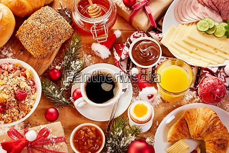 intercontinental christmas breakfast flat lay