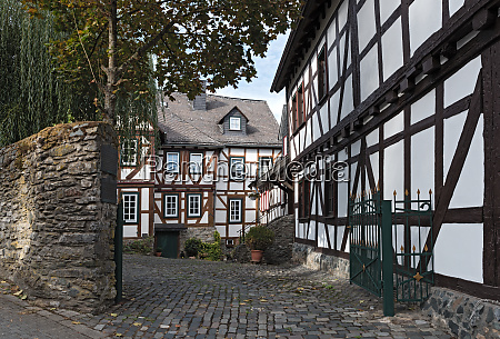 historic half timbered houses in the