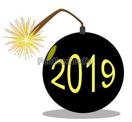 cartoon 2019 new year bomb