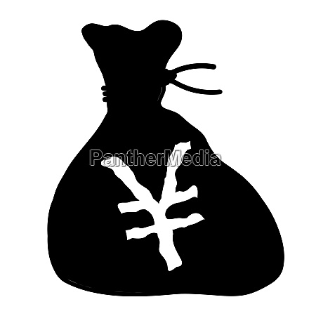 bag of japenese yen isolated