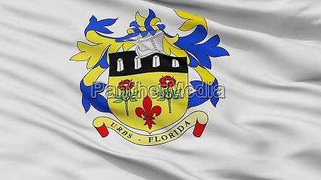 quatre bornes city flag mauritius closeup