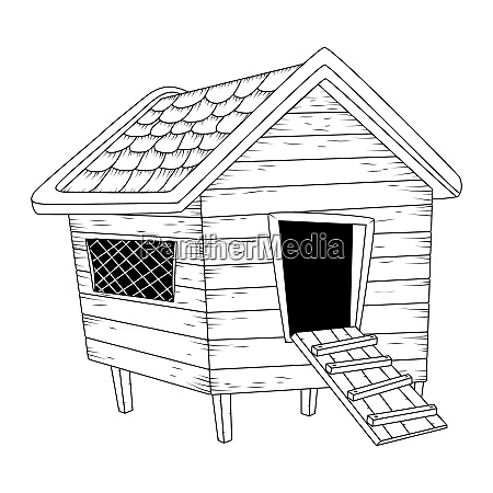 cartoon chicken coop outline isolated on