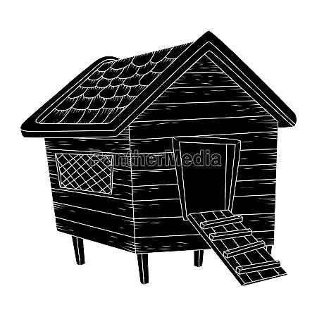 cartoon chicken coop silhouiette isolated on