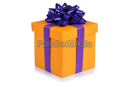 birthday gift christmas present orange box
