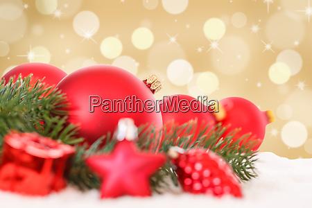 christmas balls red golden decoration baubles