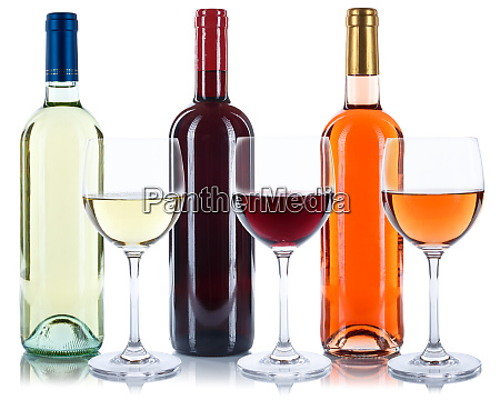 rose red and white wine bottles