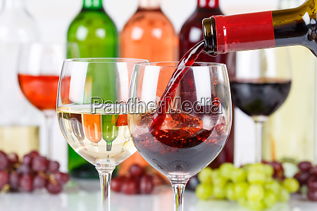 wine pouring glass bottle red pour