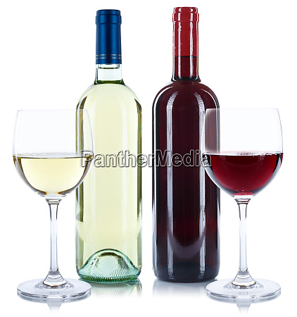 red and white wine bottles beverage