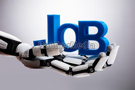 robot holding job word