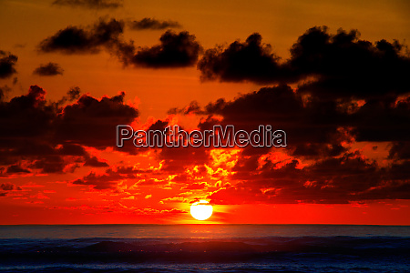 sunrise on the horizon with bright
