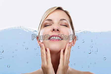 happy woman with eyes closed