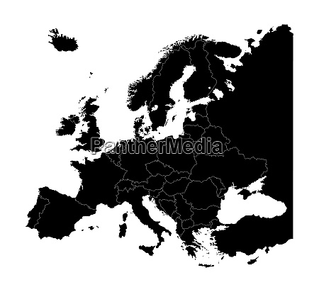 map of europe silhouette with country
