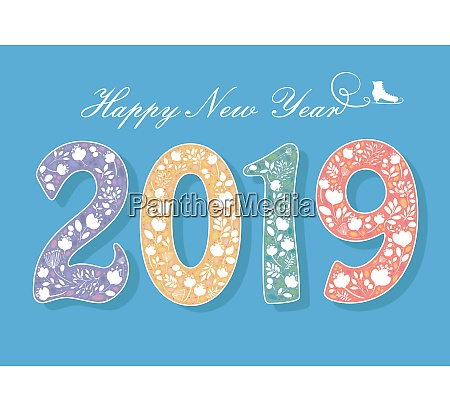 happy new year 2019 flowers and