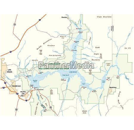 lake mead vector map nevada arizona