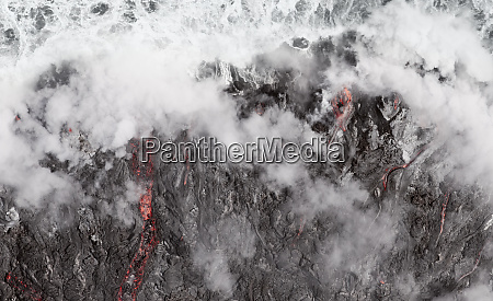 lava flow into the ocean at