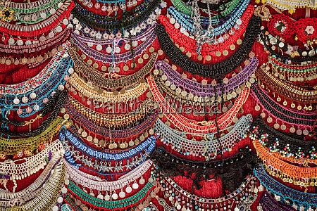 colorful necklaces at local bazaar in