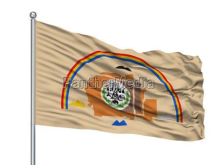 navajo indian flag on flagpole isolated