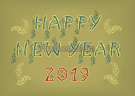 happy new year 2019 folk decor