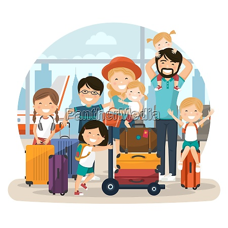 happy numerous family at the airport