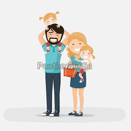 isolated happy family with little twins