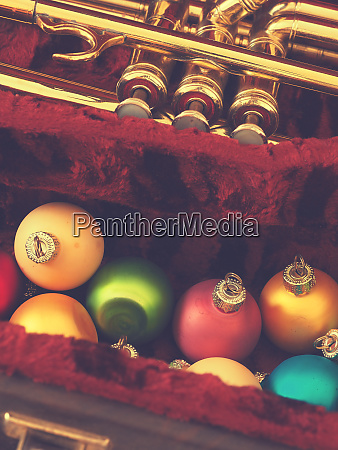 colorful vintage christmas baubles with a