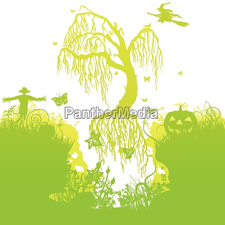 halloween and flying tree in the