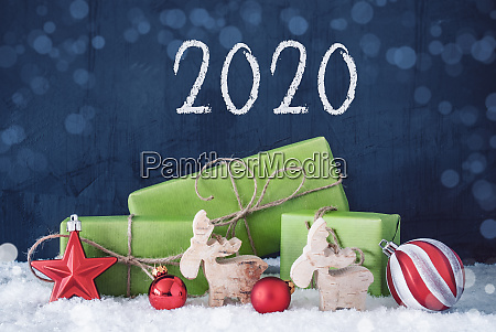 green christmas gifts snow decoration 2020