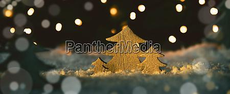 wooden christmas trees snow magic lights