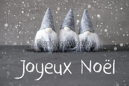 gnomes cement snowflakes joyeux noel means