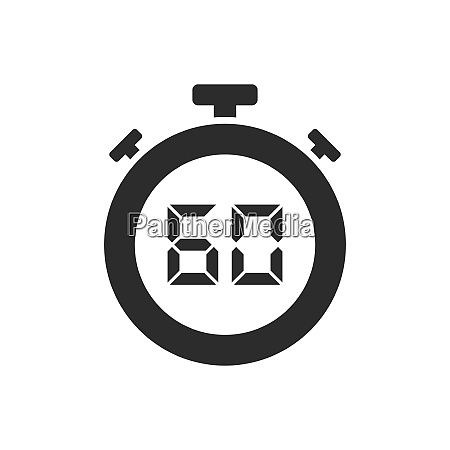 isolated stopwatch icon with sixty seconds