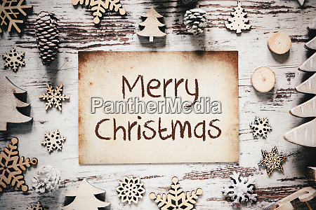 nostalgic christmas decoration paper text merry