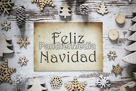 rustic decoration paper feliz navidad means