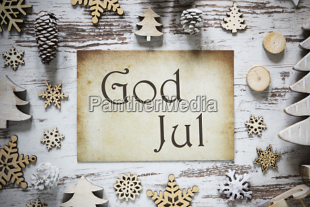 rustic christmas decoration paper god jul